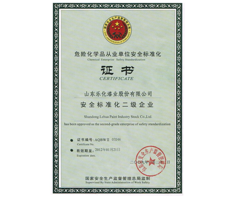Two level safety standardization certificate