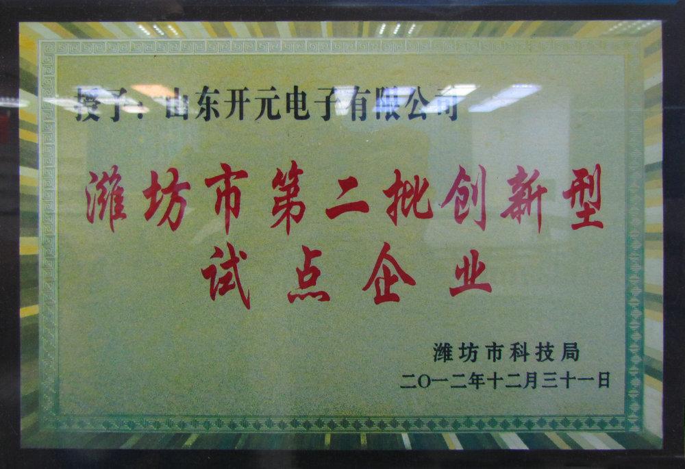 潍坊市第二批创新性试点企业