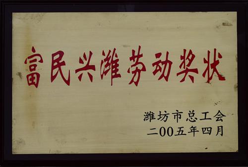 2005富民兴潍劳动奖状