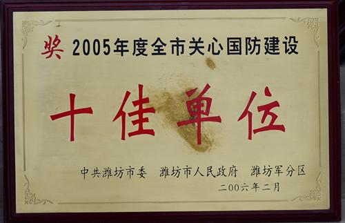 2006-05年度全市关心国防建设十佳单位