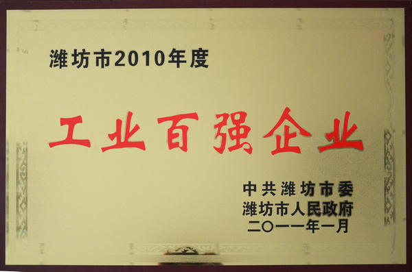 2010年度潍坊市工业百强企业