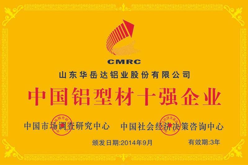 中国铝型材十强企业