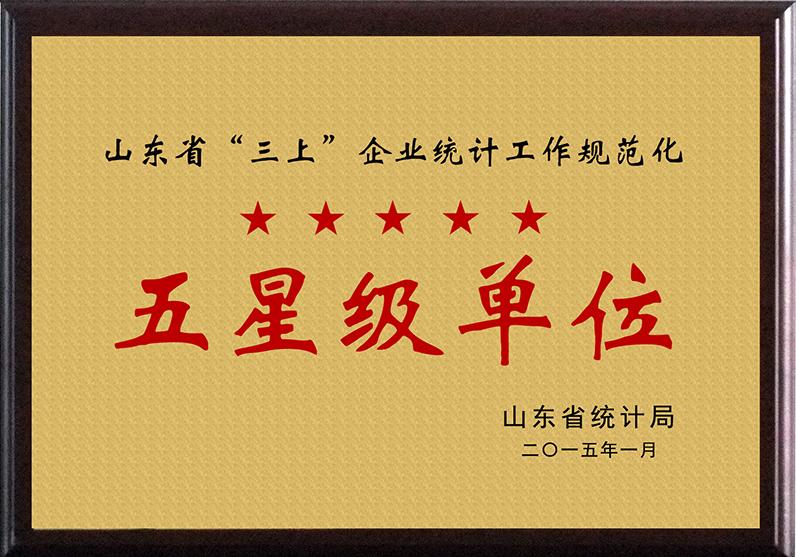 """山东省""""三上█■▄▄■▓""""企业统计工作规范化五星级单位"""