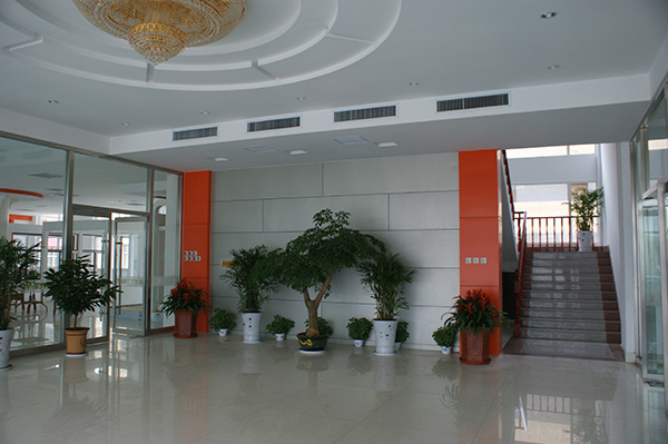 The interior of the office building