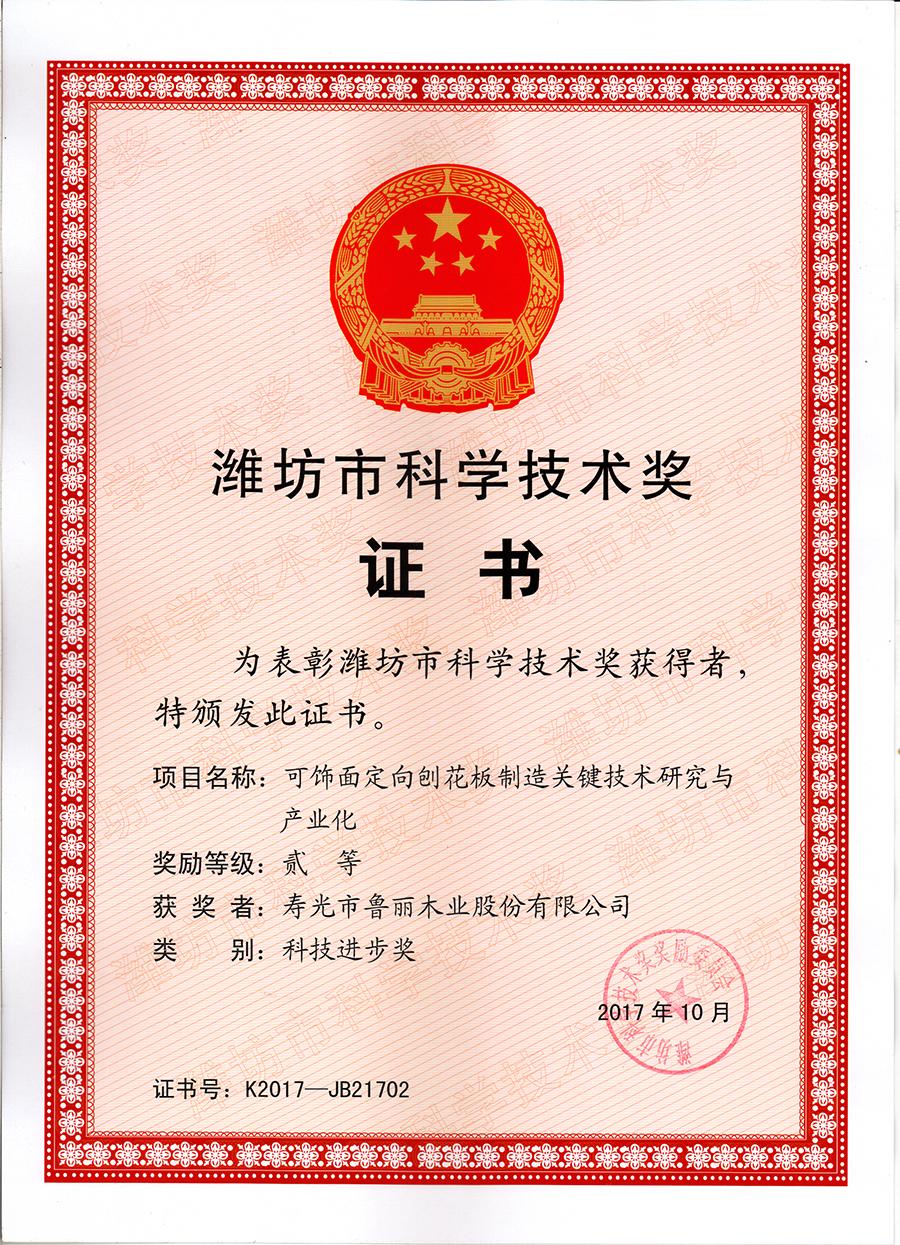 潍坊市科技进步奖(二等奖)