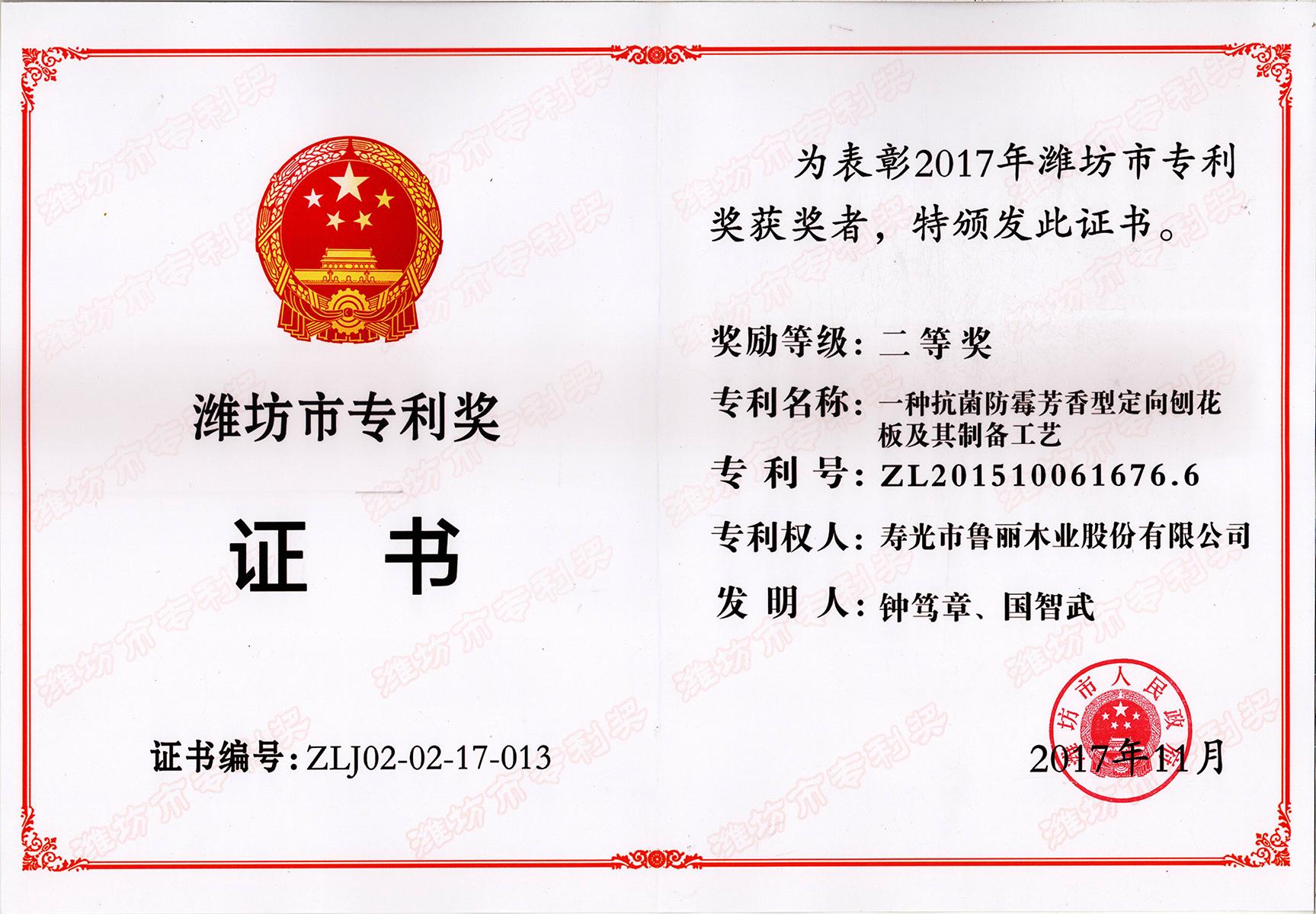 潍坊市专利奖(二等奖█■▄▄■▓)