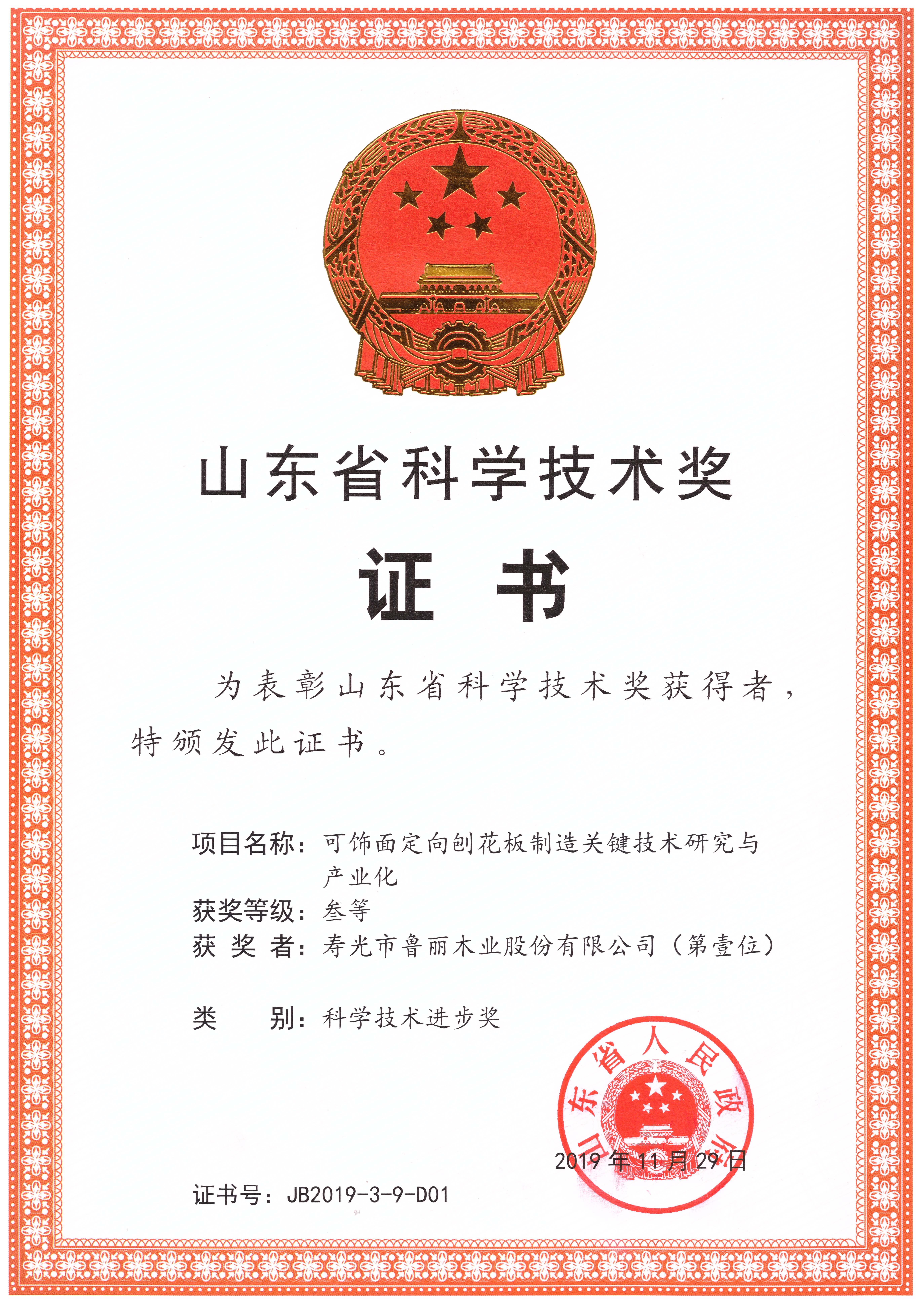 鲁丽木业一项目成果获山东省科学技术奖