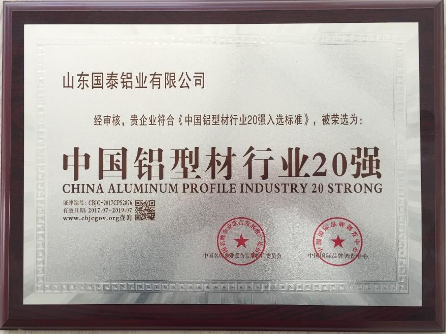 中国铝型材行业二十强