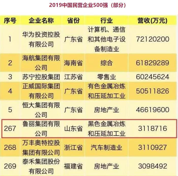 中国民营企业500强出炉!鲁丽集团再次登榜!