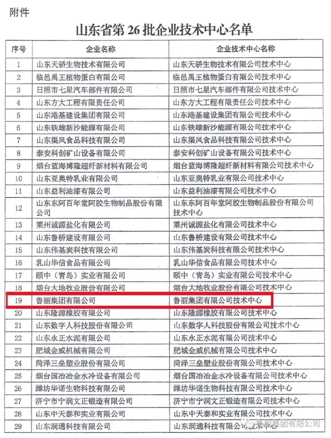 """鲁丽集团有限公司获""""省级企业技术中心""""认定"""